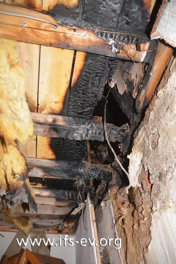 Die Brandzehrungen oberhalb der Wanddurchführung des Abgasrohres