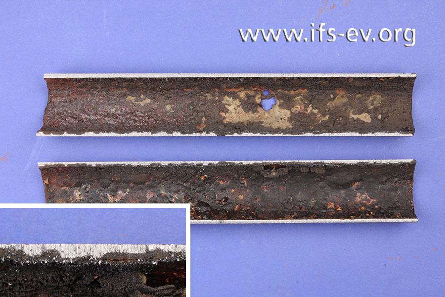 Die Rohrinnenwand ist stark korrodiert. Das kleine Bild verdeutlicht, wie tief die Schäden in das Material reichen.