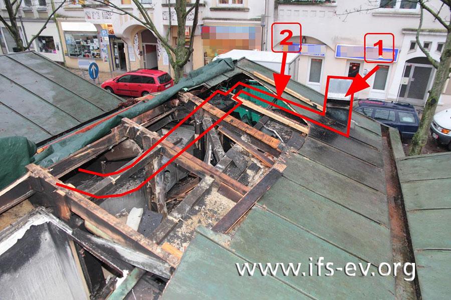 Auf dem Bild des geöffneten Daches haben wir die Abluftanlage nachgezeichnet. Das vor dem Dachauslass (1) liegende, 1,5 Meter lange Stück des Abzugskanals, das von Pfeil 2 markiert wird, fehlte bei der Untersuchung.