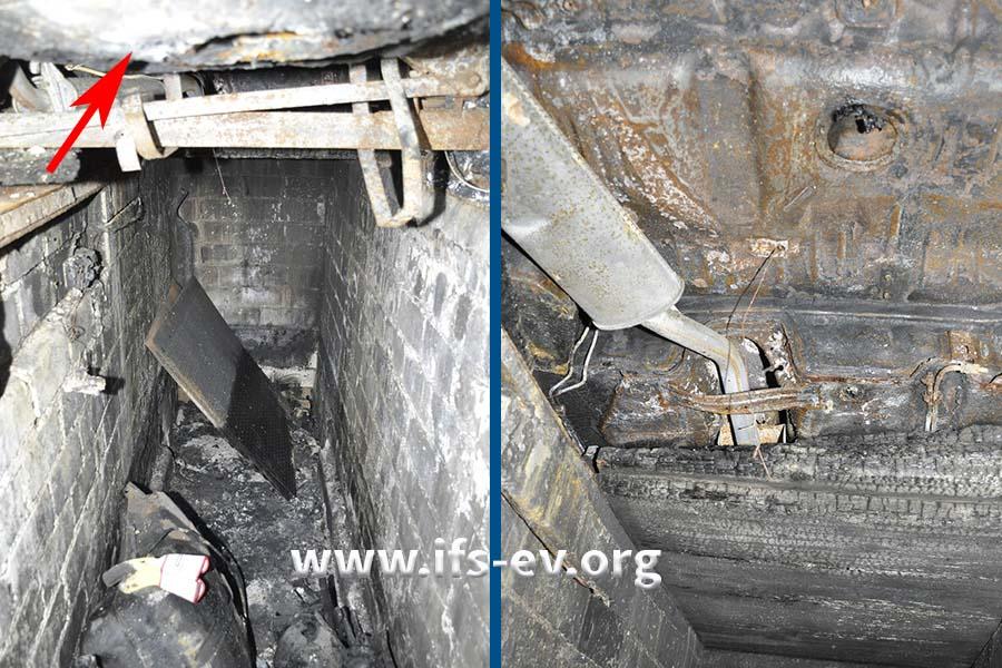 Auf dem linken Bild blicken wir in die Grube; oben ist der Tank des ausgebrannten Wagens zu erkennen (Pfeil). Das rechte Bild zeigt den Blick aus der Grube auf die Unterseite des Fahrzeugs.