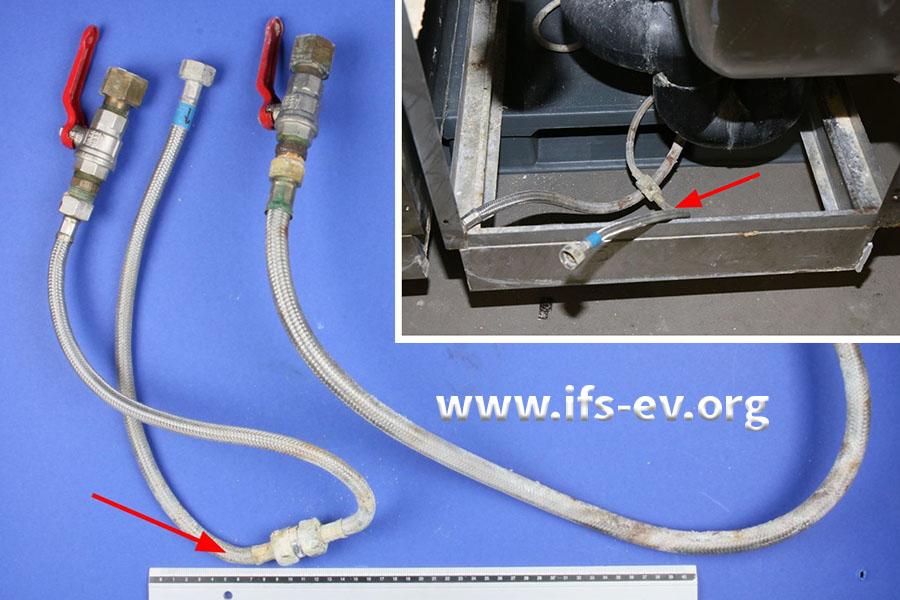 Die Anschluss-Schläuche bei der Laboruntersuchung: Wir haben die Leckagestelle markiert – auch auf dem kleinen Foto von der Einbausituation.