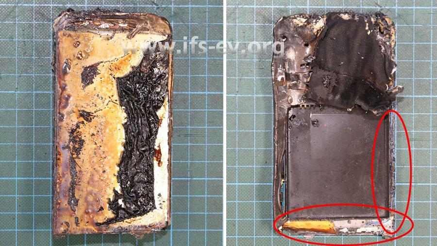 Vorderseite (links) und Rückseite (rechts) des Telefons; auf der Rückseite fehlen der Akku und an den markierten Stellen Teile des Metallrahmens.