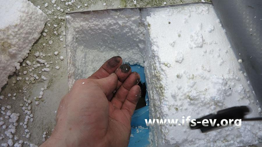 Nach dem Öffnen der Dachhaut zeigen sich auch in den Sicken der Stahltrapezeindeckung deutlich sichtbare Rußniederschläge.