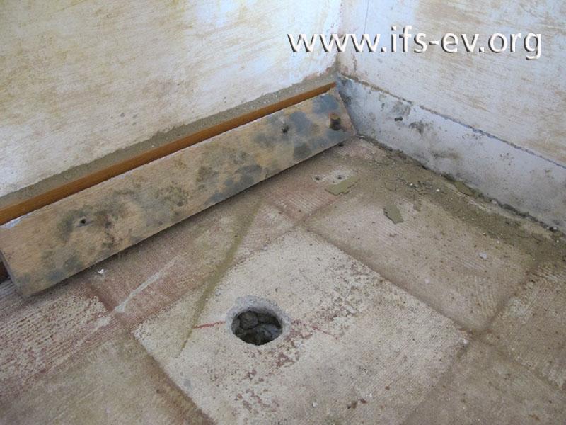 Die Rückseite der Fußleiste aus dem Dachgeschoss ist stark verschimmelt.