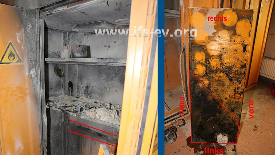 Blick in den betroffenen Gefahrstoffschrank; rechts ist der unterste Regalboden zu sehen, auf dem Chemikalien und Brandrückstände haften.