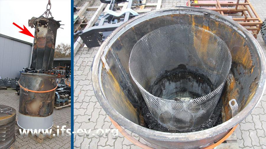 Der Filtereinsatz  (Pfeil) wird mit einem Stapler aus dem mittleren Teil gezogen. Das rechte Foto zeigt den Blick in den ausgebrannten Einsatz.
