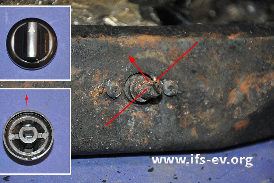 Die Achse des Drehreglers zeigt, dass der Kocher nicht ganz ausgestellt war. Dafür hätte die flache Seite nach oben zeigen müssen, wie auf den Fotos der Vergleichskomponenten.