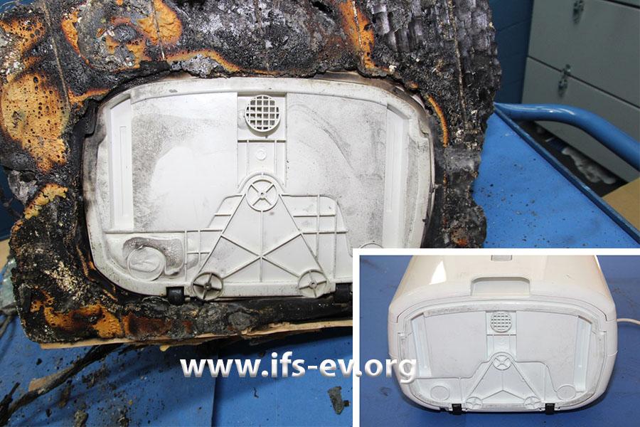 Die Bodenplatten eines brandbetroffenen Honeywell-Luftentfeuchters und eines Vergleichsgerätes von Chigo (kleines Bild)