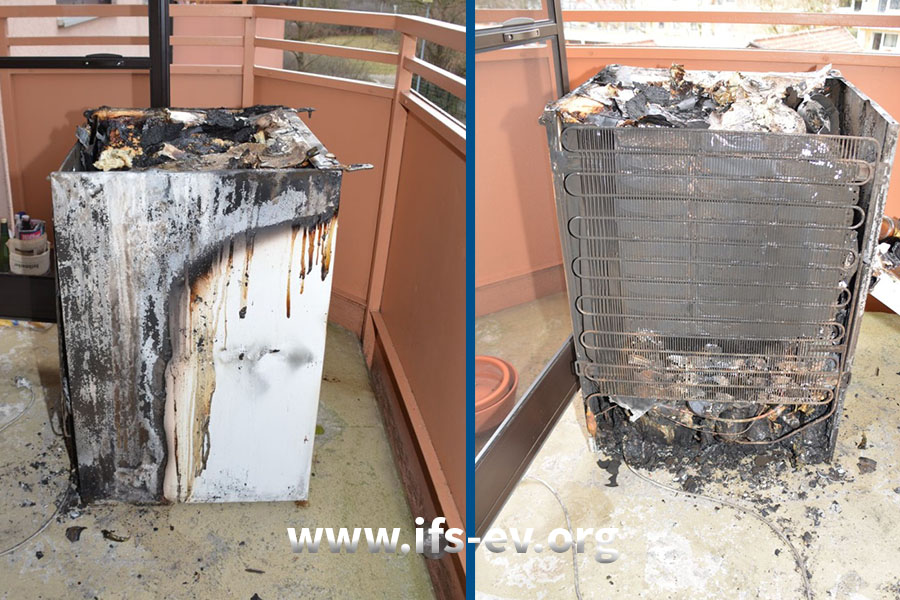 An der linken Seite des Gehäuses und der Rückseite des Kühlschrankes sind starke Brandschäden zu sehen.