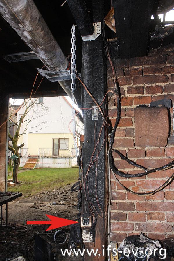 Die tiefsten Brandzehrungen befinden sich an einem Schalter, der an einem Balken befestigt ist.
