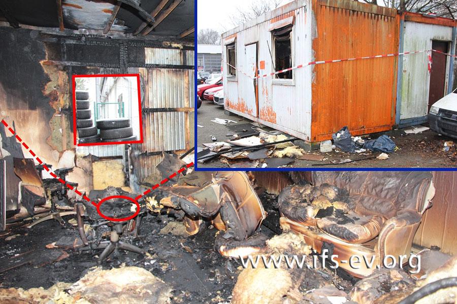 Von außen ist nicht sofort zu erkennen, wie umfangreich die Brandschäden im Container sind.