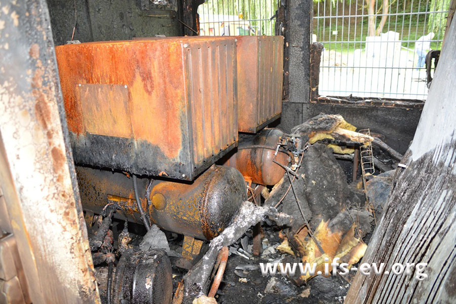 Blick in den hinteren Teil des Containers mit den am intensivsten ausgeprägten Brandschäden