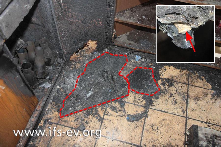 Auf dem Boden kleben die geschmolzenen Reste zweier Abfalleimer. In der Schmelze fand der Gutachter eine Zigarettenkippe (kleines Bild).