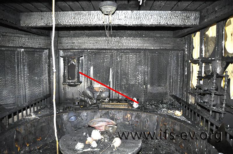 Die Markierung verdeutlicht den Brandtrichter, der sich im Bereich des Brandausbruchs an der Wand abzeichnet.
