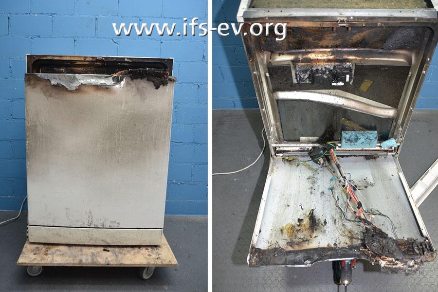 Der Geschirrspüler wird im IFS untersucht. Das rechte Bild zeigt die geöffnete doppelwandige Tür.