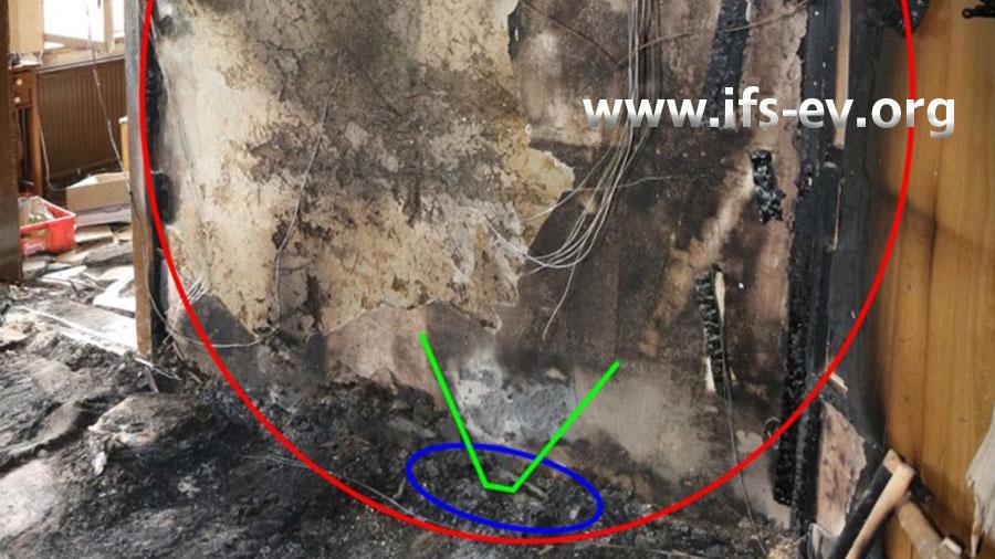 Die intensivsten Brandschäden liegen im rot markierten Bereich, der sich im Flur des Obergeschosses befindet.