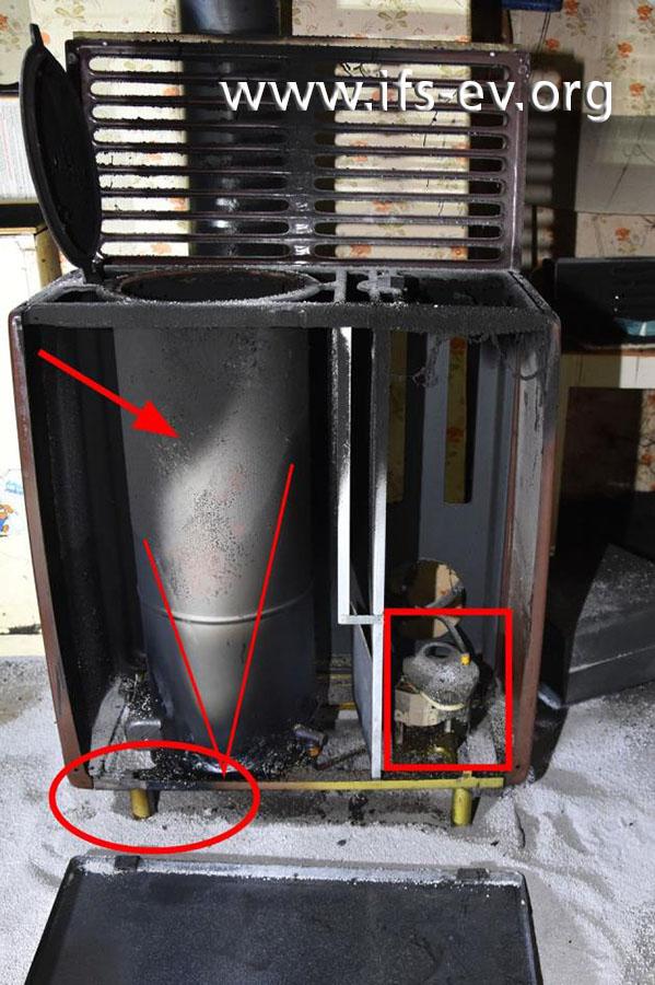 Am geöffneten Ölofen sieht man den Brennertopf (Pfeil) und den Ölregler (Rechteck). Die Ellipse und die Linienmarkierung heben Brandschäden an der Bodenplatte und am Brennertopf hervor.