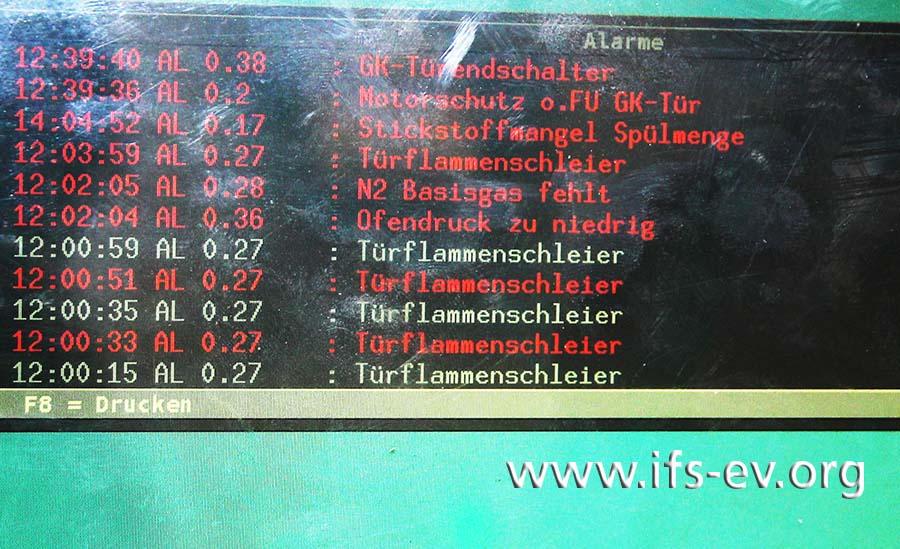 Das Protokoll auf dem Display zeigt die Fehlermeldungen (rot) und deren Bestätigungen durch den Mitarbeiter (weiß).
