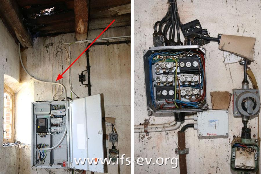 Neben der Hauptstromverteilung (links) mit der Leitung, die vor dem Stromzähler angeschlossen wurde (Pfeil), hängt an der Wand ein kleiner Sicherungskasten im