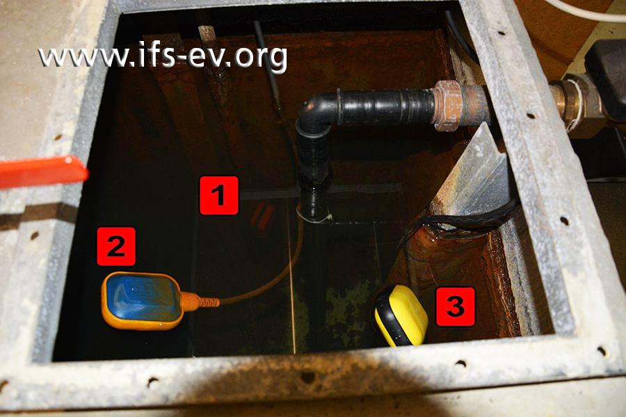 Im Sammelbehälter befinden sich die Schwimmerschalter für den Trockenlaufschutzschalter (1), den Schwimmbadzulauf (2) und den Frischwasserzulauf (3).