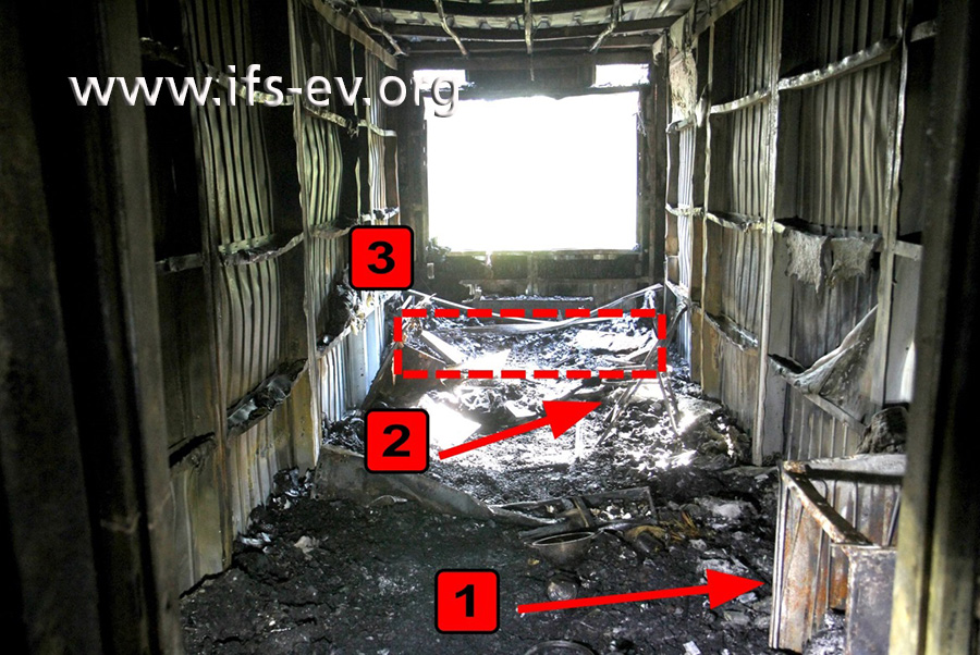 Blick in den Container, in dem das Feuer entstanden ist: Zur Orientierung haben wir die Reste des Kühlschrankes (1), eines Stuhls (2) und des Bettes (3) markiert.