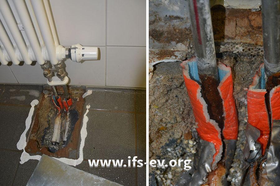 In der angrenzenden Küche ist der Fußboden am Heizkörperanschluss geöffnet: Die Detailaufnahme rechts zeigt, dass die Rohre auch hier massiv korrodiert sind.