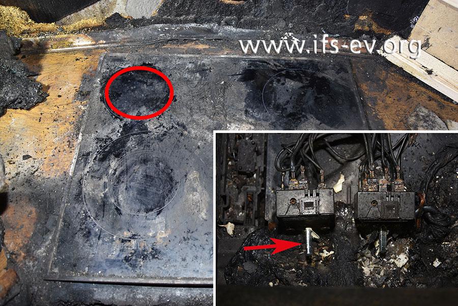 Auf dem hinteren, linken Kochfeld haftet verbranntes Material. Die Schalterstellung (kleines Bild) zeigt, dass es eingeschaltet war.
