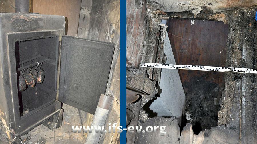Der Räucherschrank und eine räucherschrankgroße Durchbrennung im Fußboden