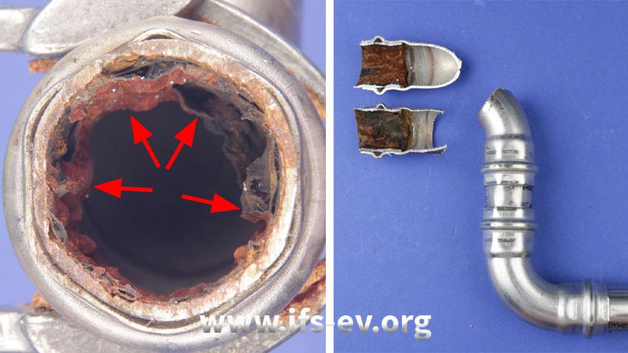 Die Innenwand des Rohres ist stark korrodiert.