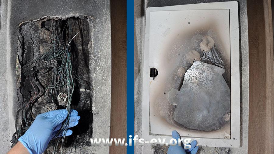 Die Elektroverteilung ist stark verbrannt. Ihre Tür (rechtes Bild) war heruntergefallen und wurde hier vom Gutachter wieder an ihren ursprünglichen Platz gesetzt.