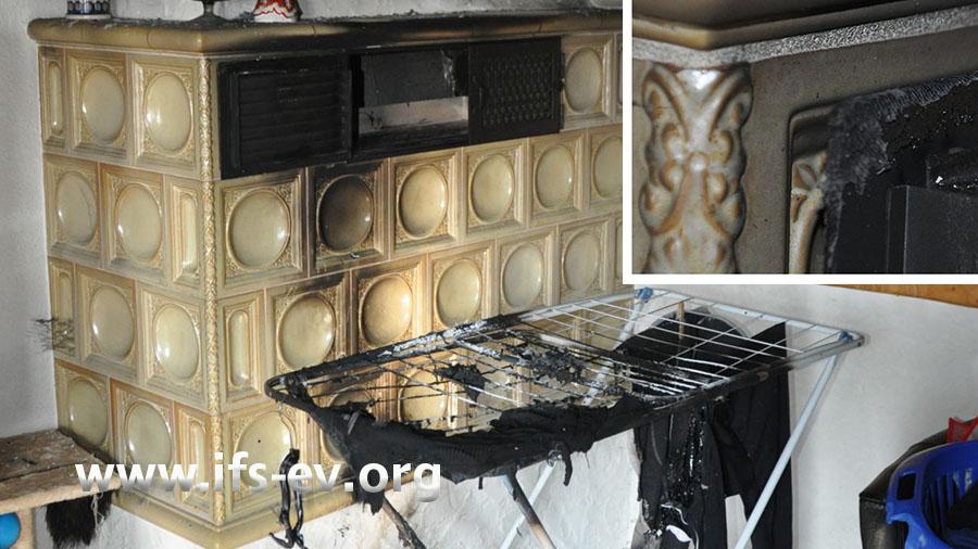 Direkt vor dem Kachelofen ist ein Wäschetrockner aufgestellt. An der Lüftungsklappe des Ofens kleben Textilreste (kleines Foto).