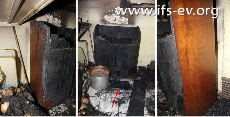 Die Kommode ist an der Vorderseite stark brandgezehrt, während die Seiten nahezu unbeschädigt sind.