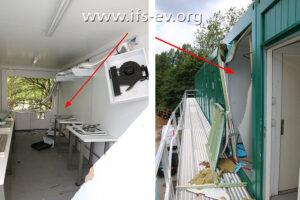 Am betroffenen Küchencontainer sind von innen und außen deutliche Explosionsfolgen zu sehen.