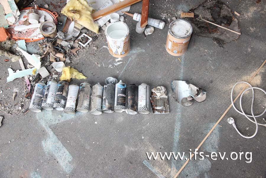 Es wurden insgesamt 16 Lackspraydosen gefunden, von denen alle bis auf eine fast leer waren.