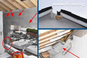 Deutliche Explosionsschäden an dem kleinen Haus
