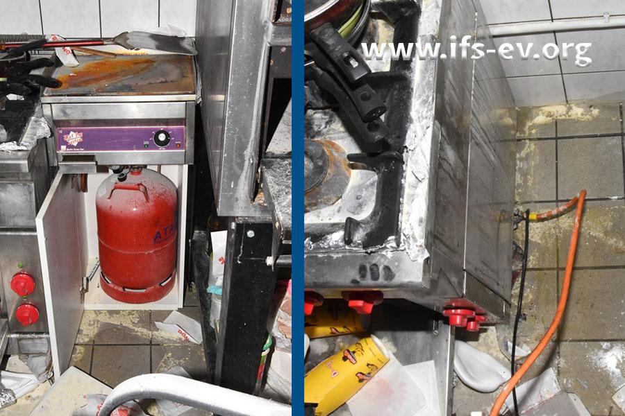 In einem Schrank rechts des Gasherdes steht eine Propangasflasche. Auf dem rechten Bild wurde der Schrank aus der Nische gezogen, und der Gasschlauch zwischen Flasche und Herd ist zu sehen.