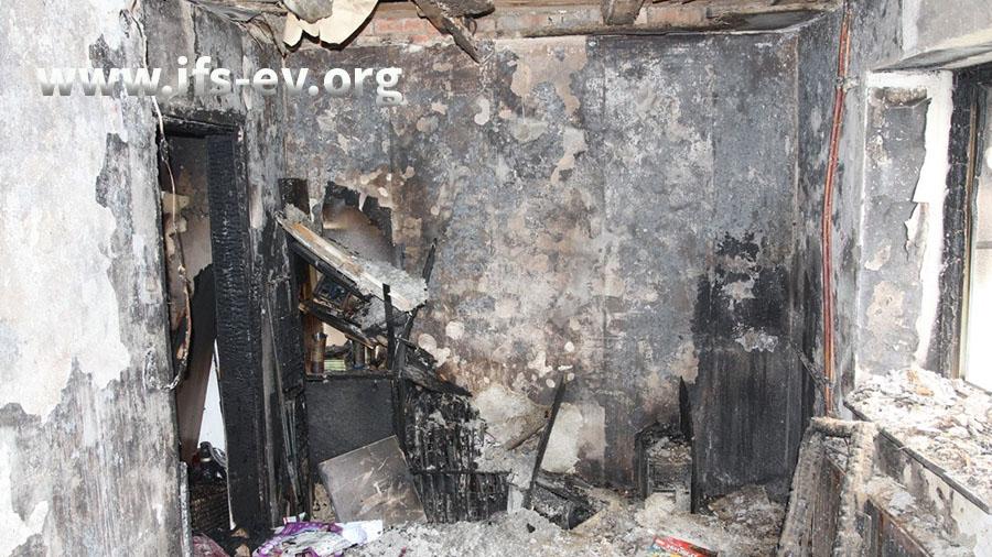 Ein Blick in das zerstörte Schlafzimmer