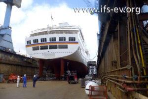 Das Schiff lag zum Schadenzeitpunkt im Dock.