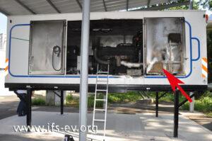 Das Notstromaggregat: An der Innenseite der rechten Flügeltür gibt es auffällige Brandspuren.
