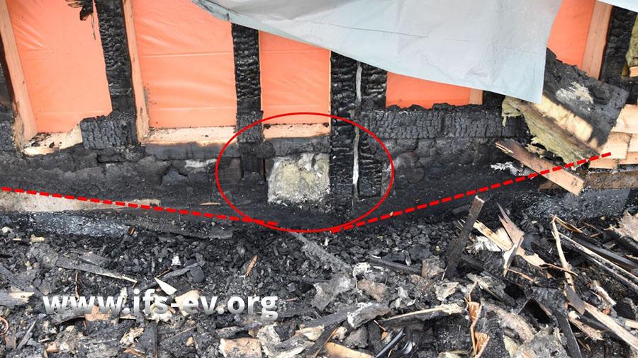 Der Fußpunkt der Brandzehrungen (roter Kreis): Von diesem Punkt ist das Feuer ausgegangen.