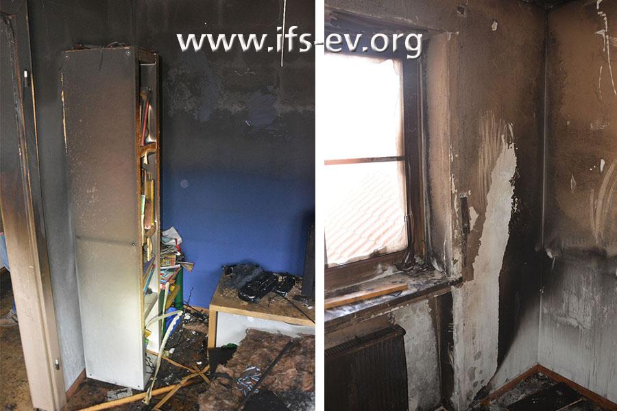 Während die Brandschäden und Rußverschmutzungen größtenteils von der Decke nur bis zur halben Raumhöhe herabreichten, gab es vor der Heizung und neben dem Fenster Brandspuren auf Fußbodenniveau.