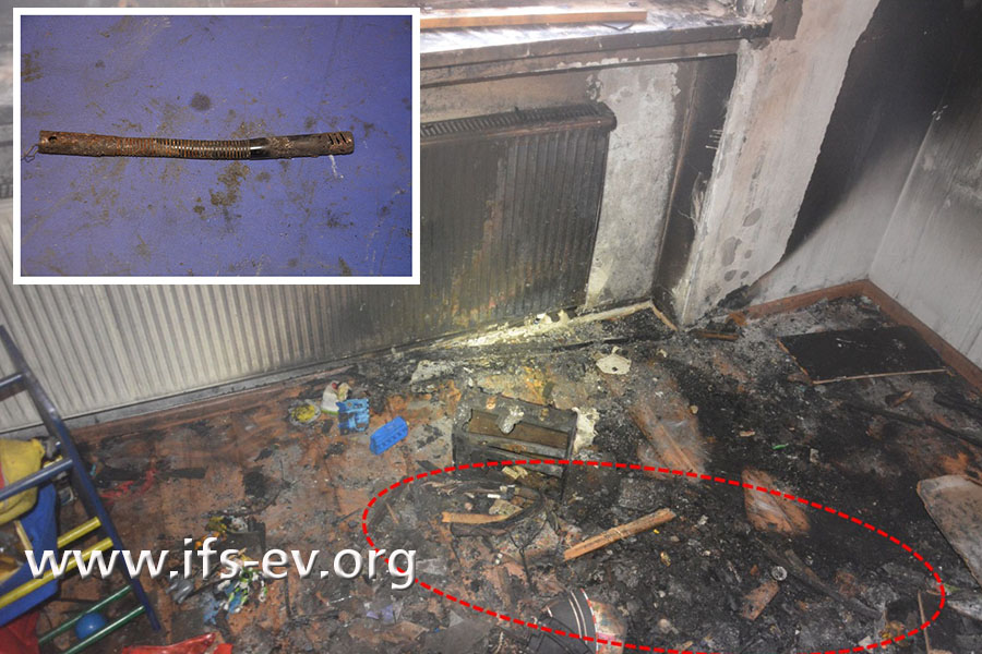 Im Brandschutt vor der Heizung findet der Gutachter ein Stabfeuerzeug.