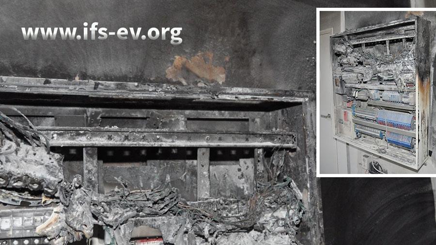 Das Foto zeigt den Schadenschwerpunkt, der sich im Schaltschrank (kleines Bild) oben rechts befindet.