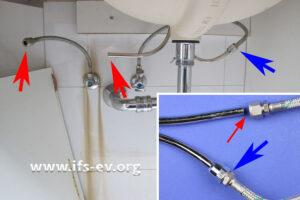 Blick auf den Warmwasser- (rot) und Kaltwasseranschluss unter dem Handwaschbecken im Bad. Das kleine Bild zeigt die Klemmringverbindungen bei der Laboruntersuchung.