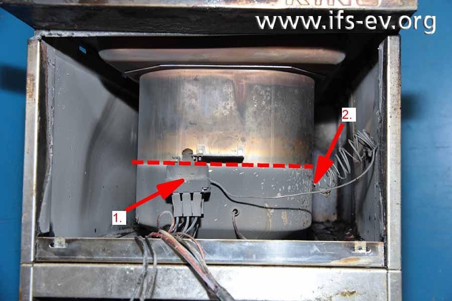 Die Außenseite des Frittierbeckens mit dem STB (Pfeil 1) und dem Fühler (Pfeil 2) für den STB. Im unteren Bereich gibt es Rauchgasanhaftungen.
