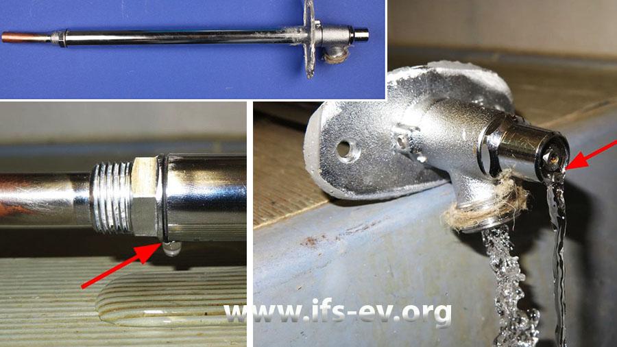 Das obere Bild zeigt das Außenwandventil. Bei der Dichtigkeitsprüfung tritt sowohl am Ventilkopf (linkes Bild) als auch an der hinteren Gewindeverbindung Wasser aus.