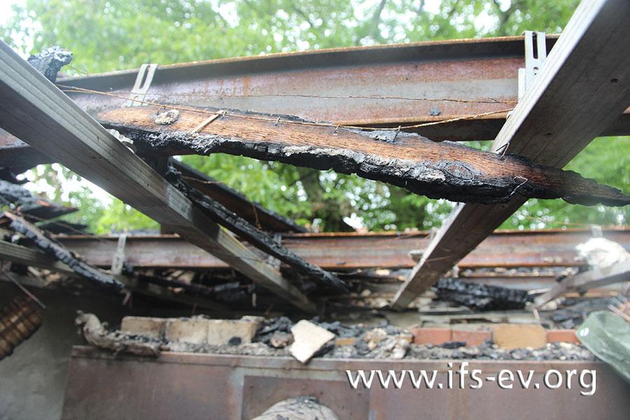 Bretter, die unter die Deckenbalken genagelt waren, sind an der Oberseite stärker brandgezehrt, wie der Gutachter anhand der Befestigungsdrähte erkennen kann.