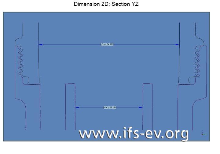 CAD-Zeichnung wie in Abbildung 2, hier mit einer Drehung um 90°. In dieser Position greifen die Gewinde nicht ineinander.