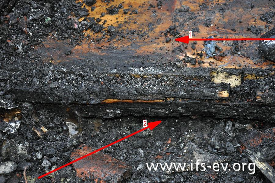 Im Brandschwerpunkt ist der Holzfußboden des Gartenhauses nahezu unverbrannt (Pfeil 1), während ein außen am Boden verbauter Holzbalken insbesondere von unten her tief brandgezehrt ist (Pfeil 2).