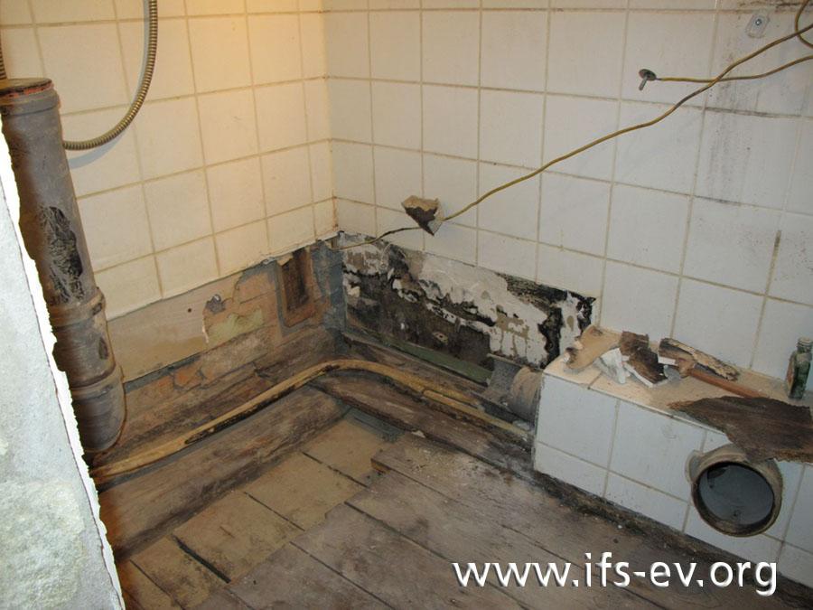 Im Badezimmer wurden WC und Dusche ausgebaut.
